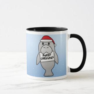 Kawaii Christmas Manatee Mug