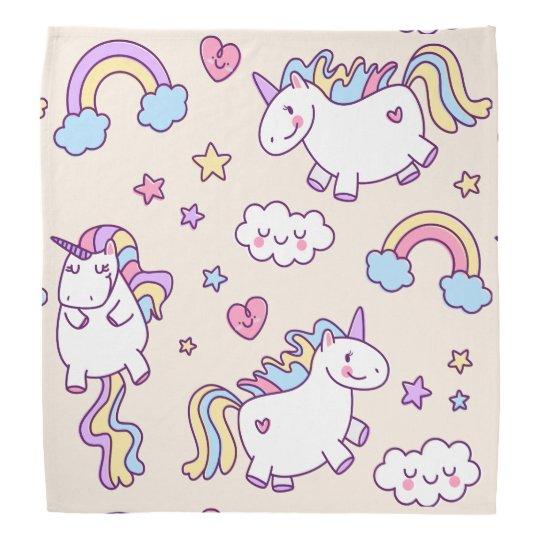 Kawaii chubby flying unicorns rainbow pattern bandana