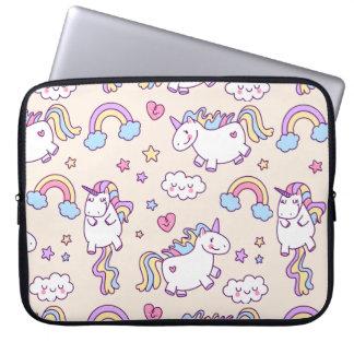 Kawaii chubby flying unicorns rainbow pattern laptop sleeve