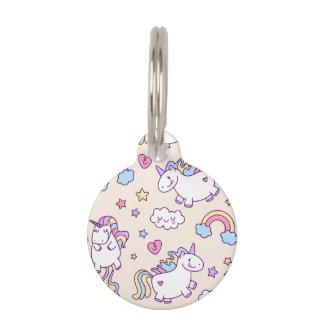 Kawaii chubby flying unicorns rainbow pattern pet ID tag