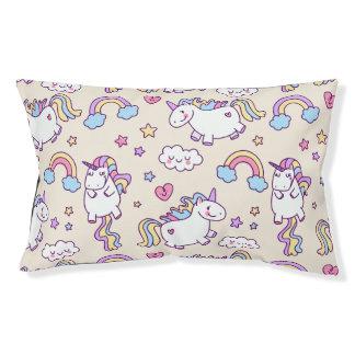 Kawaii chubby flying unicorns rainbow pattern small dog bed