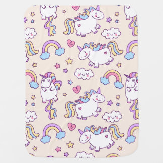 Kawaii chubby flying unicorns rainbow pattern swaddle blanket