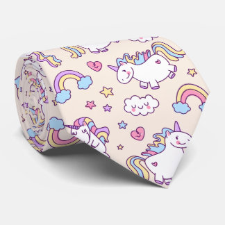 Kawaii chubby flying unicorns rainbow pattern tie