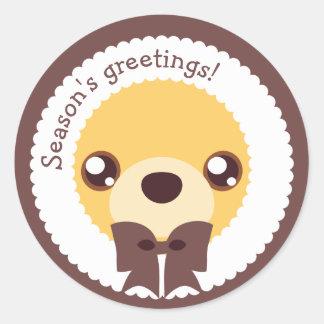 Kawaii Clara - Winter (Teddy) Classic Round Sticker