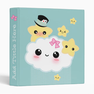 Kawaii cloud and cute stars binder