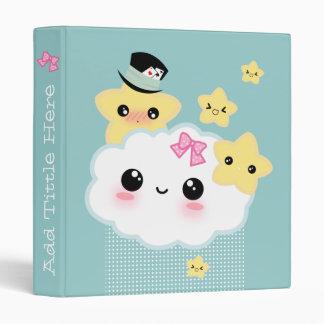 Kawaii cloud and cute stars binder
