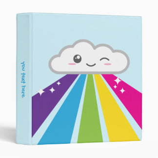 Kawaii Cloud and Rainbow Binder