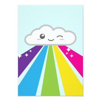 Kawaii Cloud and Rainbow Party Invitation