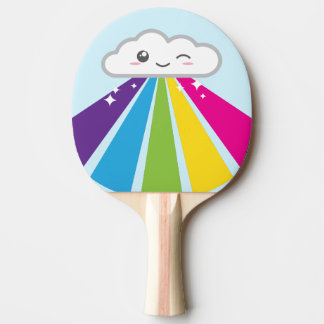 Kawaii Cloud and Rainbow Ping Pong Paddle