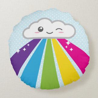 Kawaii Cloud and Rainbow Round Pillow