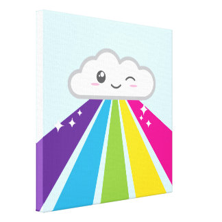 Kawaii Cloud and Rainbow Wrapped Canvas Gallery Wrap Canvas