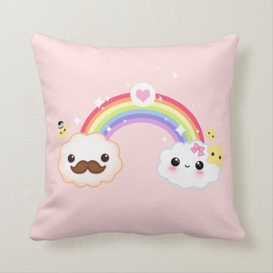 Kawaii cloud couple with rainbow and stars throw pillow