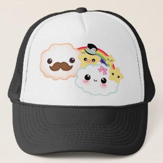 Kawaii cloud couple with rainbow and stars trucker hat