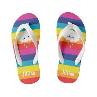 Kawaii Cloud Rainbow Stripes Kid's Flip Flops