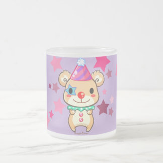 Kawaii Clown Bear Frosted Glass Mug