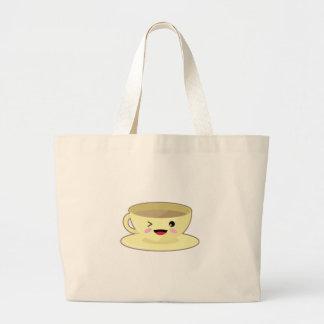 Kawaii coffee cup large tote bag
