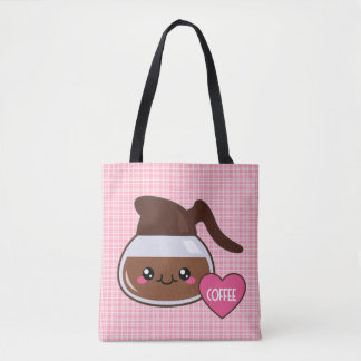 Kawaii Coffee Lover Pink Plaid Tote Bag
