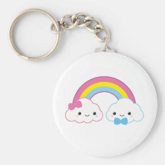 Kawaii Couple Clouds and Rainbow Basic Round Button Keychain