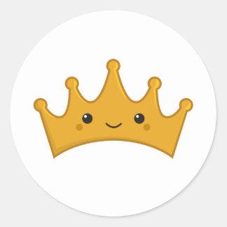 Kawaii Crown Classic Round Sticker
