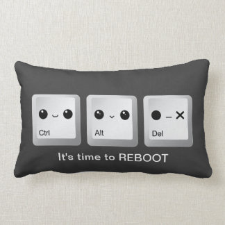 Kawaii Ctrl Alt Del Keyboard - Let's reboot Throw Pillow