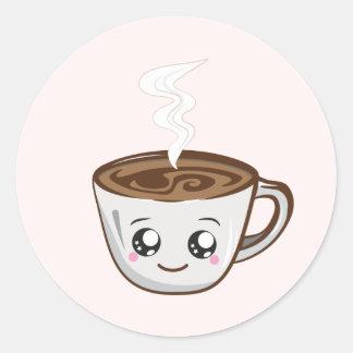 Kawaii Cup of coffee, tea Classic Round Sticker
