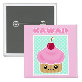 Kawaii Cupcake Cherry 2 Inch Square Button