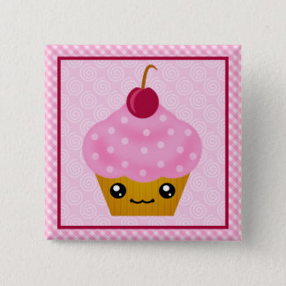Kawaii Cupcake Cherry Square Button