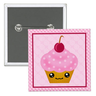 Kawaii Cupcake Cherry Square Button