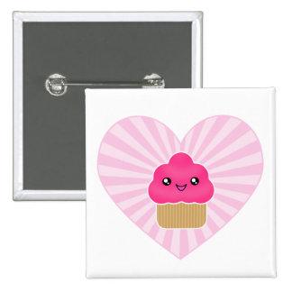Kawaii Cupcake Heart Badge 2 Inch Square Button