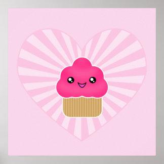 Kawaii Cupcake Heart Poster