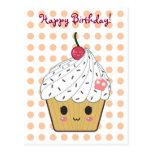 "Kawaii Cupcake in Polka Dots ""Happy Birthday"" Post Cards"