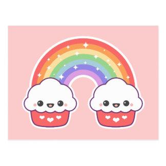 Kawaii Cupcake Rainbow Postcard