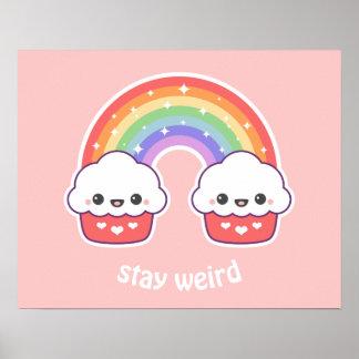 Kawaii Cupcake Rainbow Poster