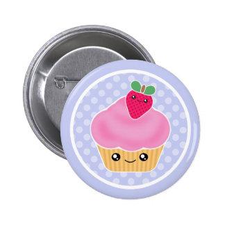 Kawaii Cupcake Strawberry 2 Inch Round Button