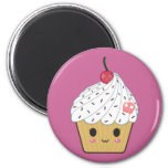 Kawaii Cupcake with Pink Sugar Skull and Cherry Magnets