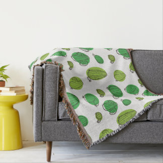 Kawaii Cute Assorted Cactus Pattern. Throw Blanket