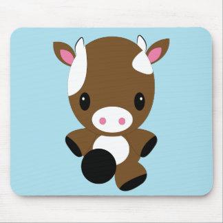 Kawaii cute baby brown cow mousepad