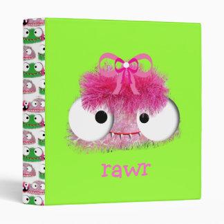 kawaii cute baby monster pink vinyl binders