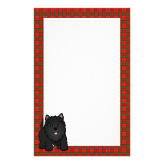 Kawaii Cute Black Scottish Terrier Puppy Dog Personalized Stationery