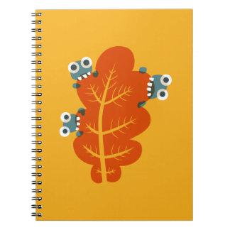 Kawaii Cute Cartoon Bugs Eat Autumn Leaf Kids Notebook