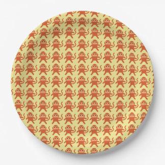 Kawaii Cute Cheeky Monkeys. 9 Inch Paper Plate