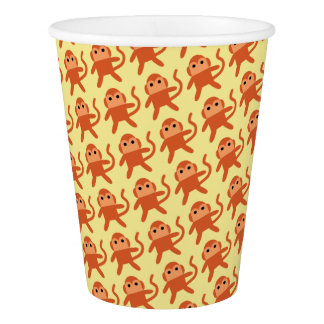 Kawaii Cute Cheeky Monkeys. Paper Cup