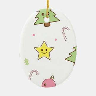 Kawaii Cute Christmas Design Ceramic Oval Ornament