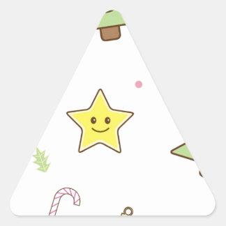 Kawaii Cute Christmas Design Triangle Sticker