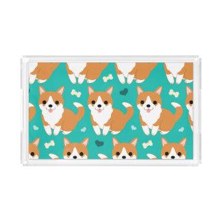 Kawaii Cute Corgi dog simple illustration pattern Acrylic Tray