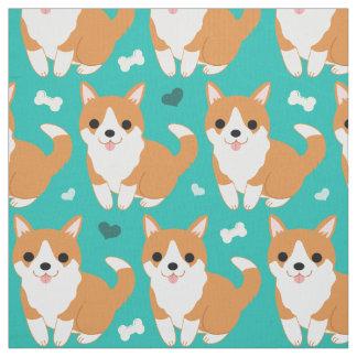 Kawaii Cute Corgi dog simple illustration pattern Fabric