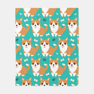 Kawaii Cute Corgi dog simple illustration pattern Fleece Blanket