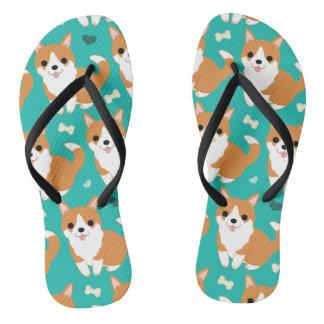 Kawaii Cute Corgi dog simple illustration pattern Flip Flops