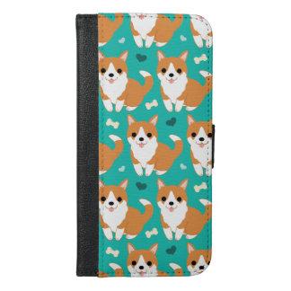 Kawaii Cute Corgi dog simple illustration pattern iPhone 6/6s Plus Wallet Case