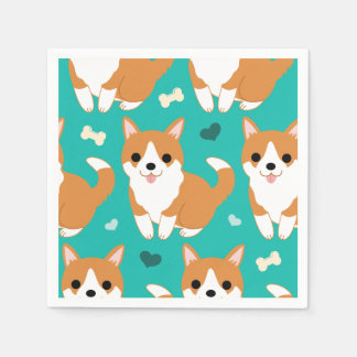 Kawaii Cute Corgi dog simple illustration pattern Paper Napkins